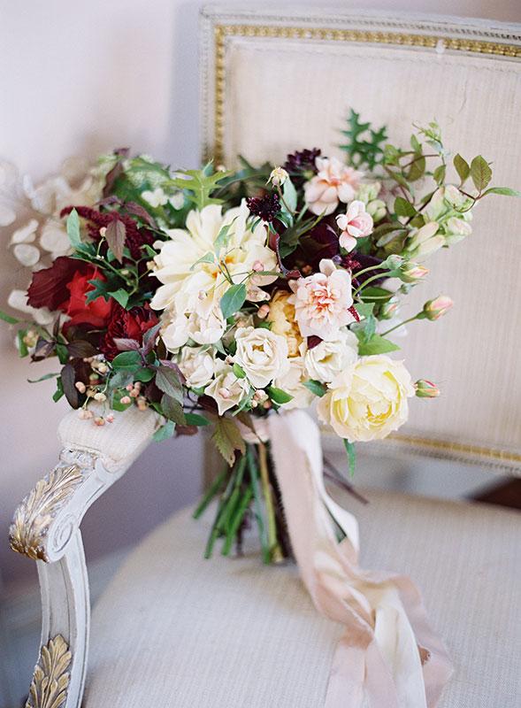 autumnal bridal bouquet flowers at St Giles House Dorset