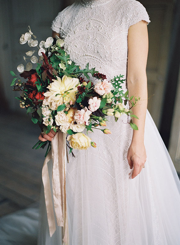 autumnal bridal bouquet flowers at St Giles House Dorset with wild flowers