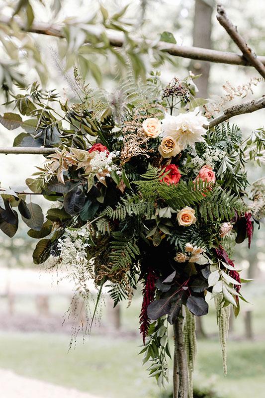 woodland arch for autumnal wedding