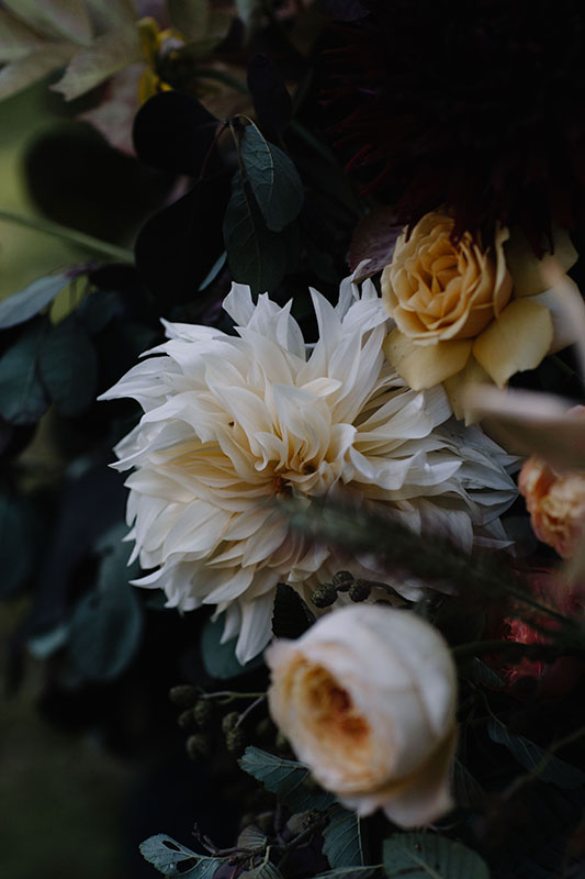 autumnal coloured woodland flowers and garden roses for a wedding in staffordshire
