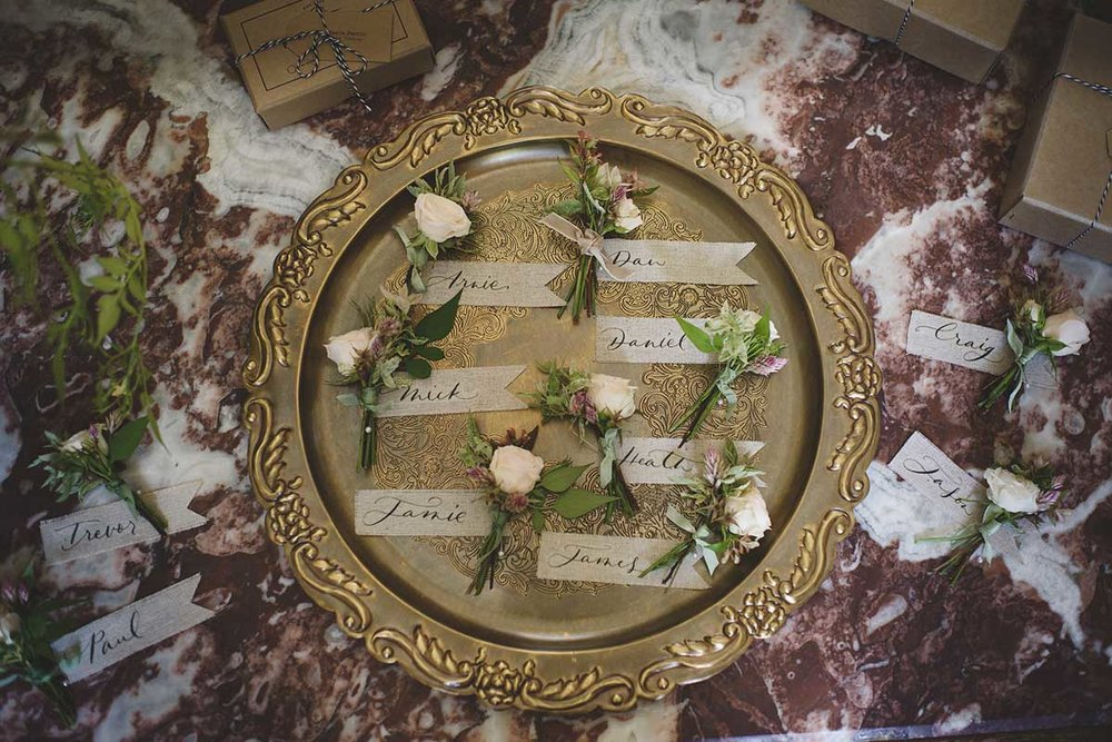 unique wedding in France with pink flowers and silk ribbon