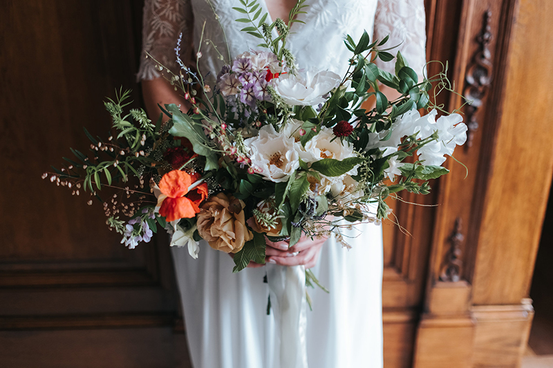 London summer wedding with garden roses and wildflowers
