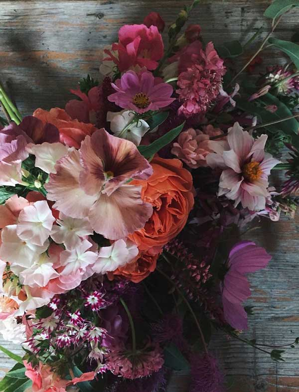 vibrant homegrown flowers for summer weddings