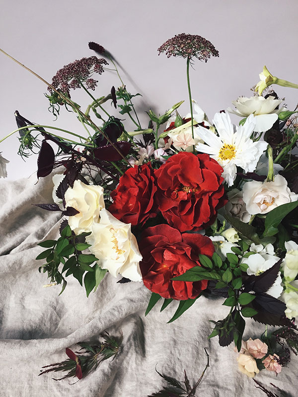 Red and white summer wedding flowers
