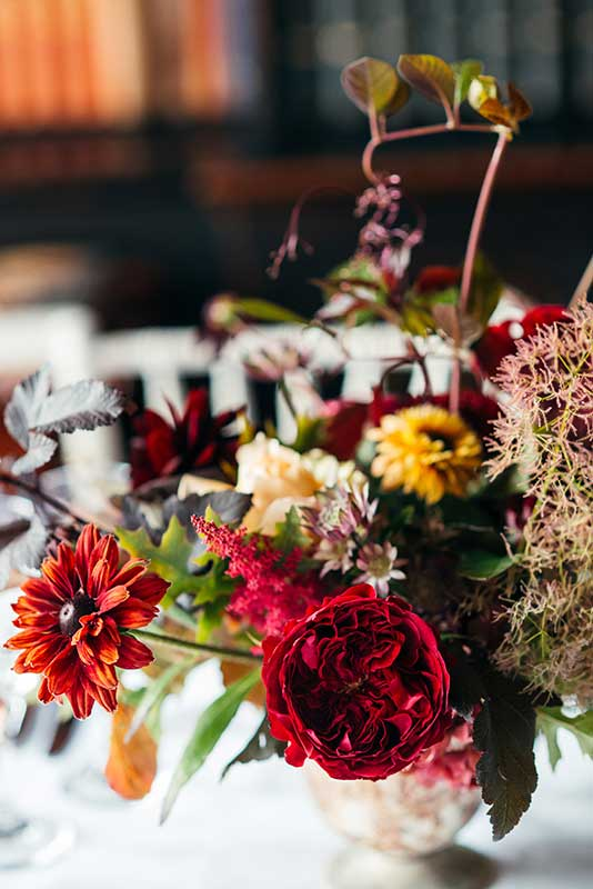 vervain unique table centres for a autumnal Devon wedding