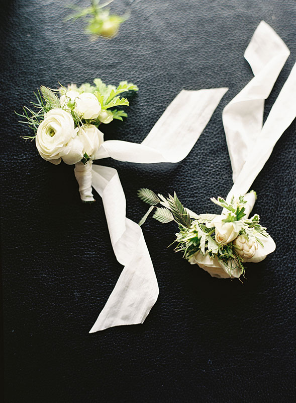 vervain white wedding corsages with silk ribbon and homegrown flowers