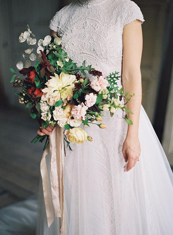 vervain autumnal bridal bouquet at St Giles House Dorset