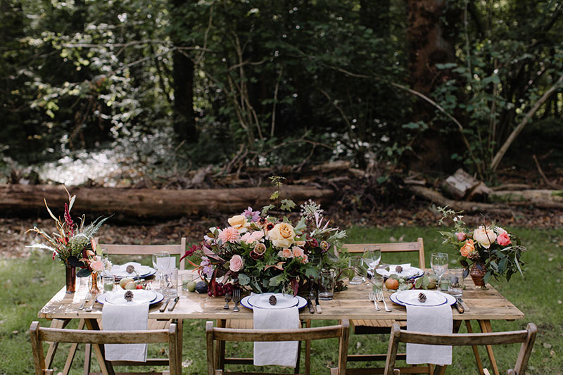 Vervain Woodland Unique Wedding Staffordshire with unique table centres and brassware