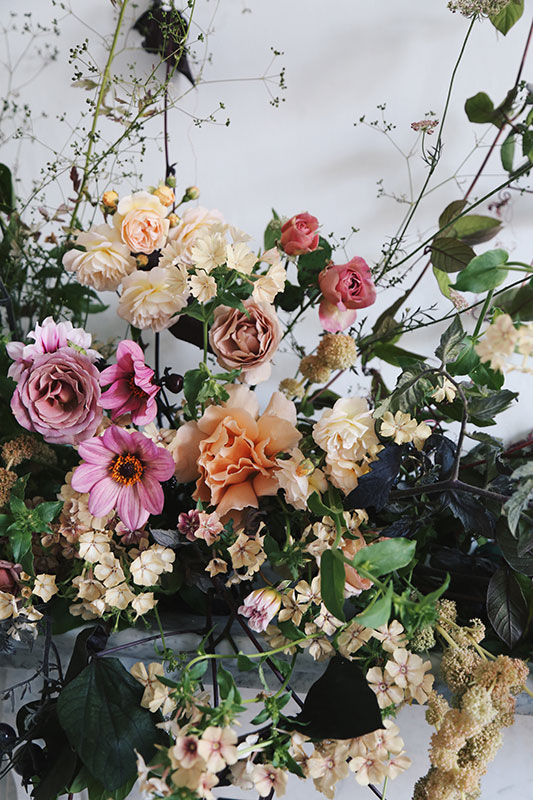 unique wedding mantle installation pieces with summer flowers