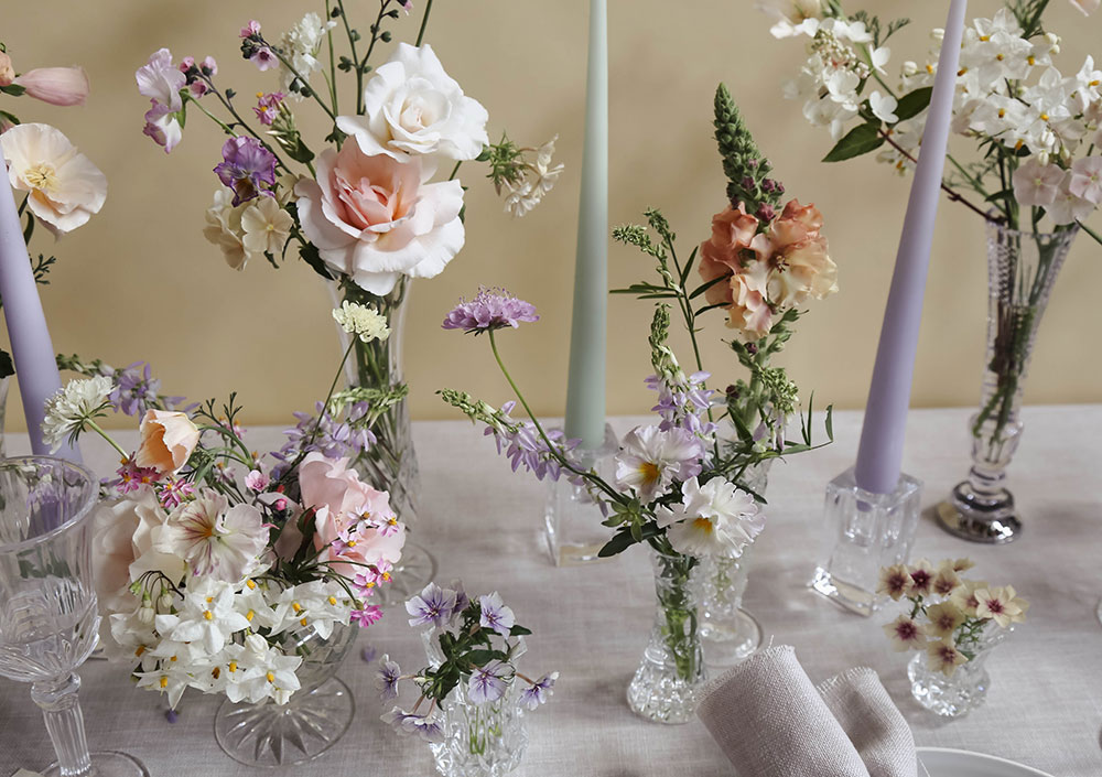 vervain wedding table design cut glass and pastel summer flowers