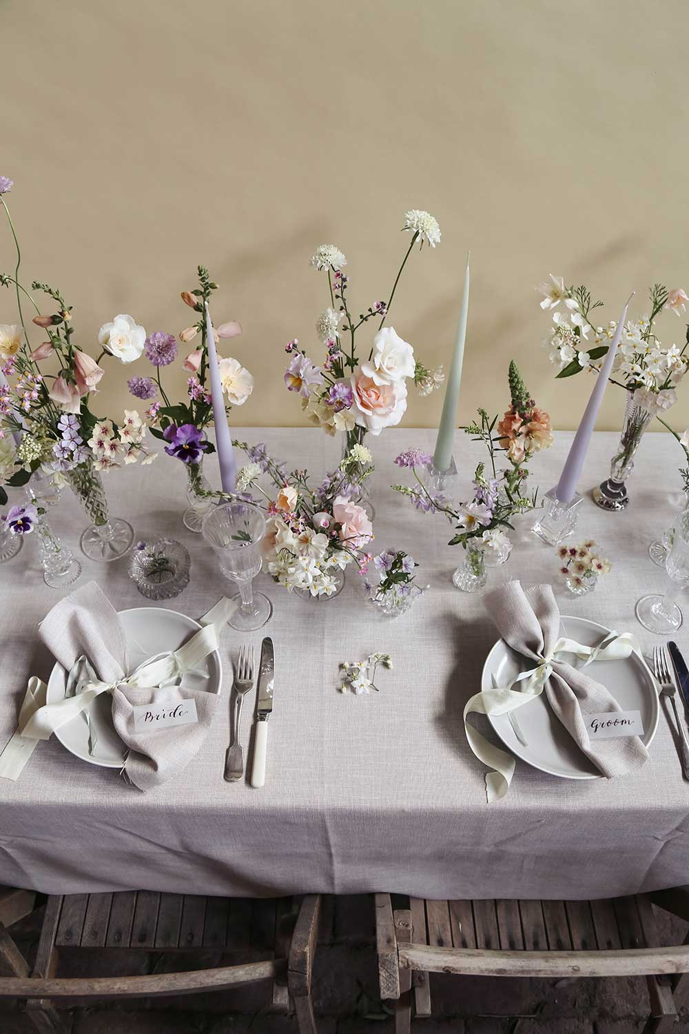 summer tablescape with summer pastels and cut glass
