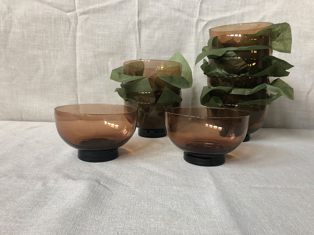 Rust coloured footed glass bowls