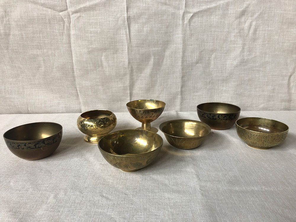 Selection of small antique brass bowls