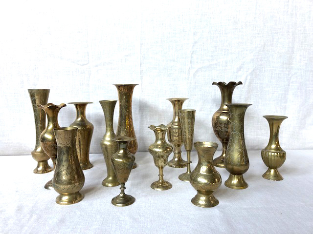 Mixed size brass vases, small vases and bud vases