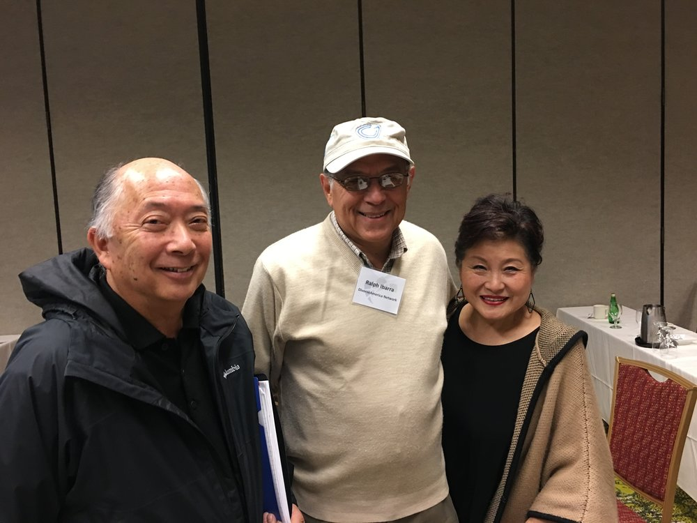 Frank Fukui of Wooodburn Company, Ralph Ibarra of MBE World and Penny Fukui of Woodburn Company at Northwest Mountain MSDC 2016 MBE Meeting