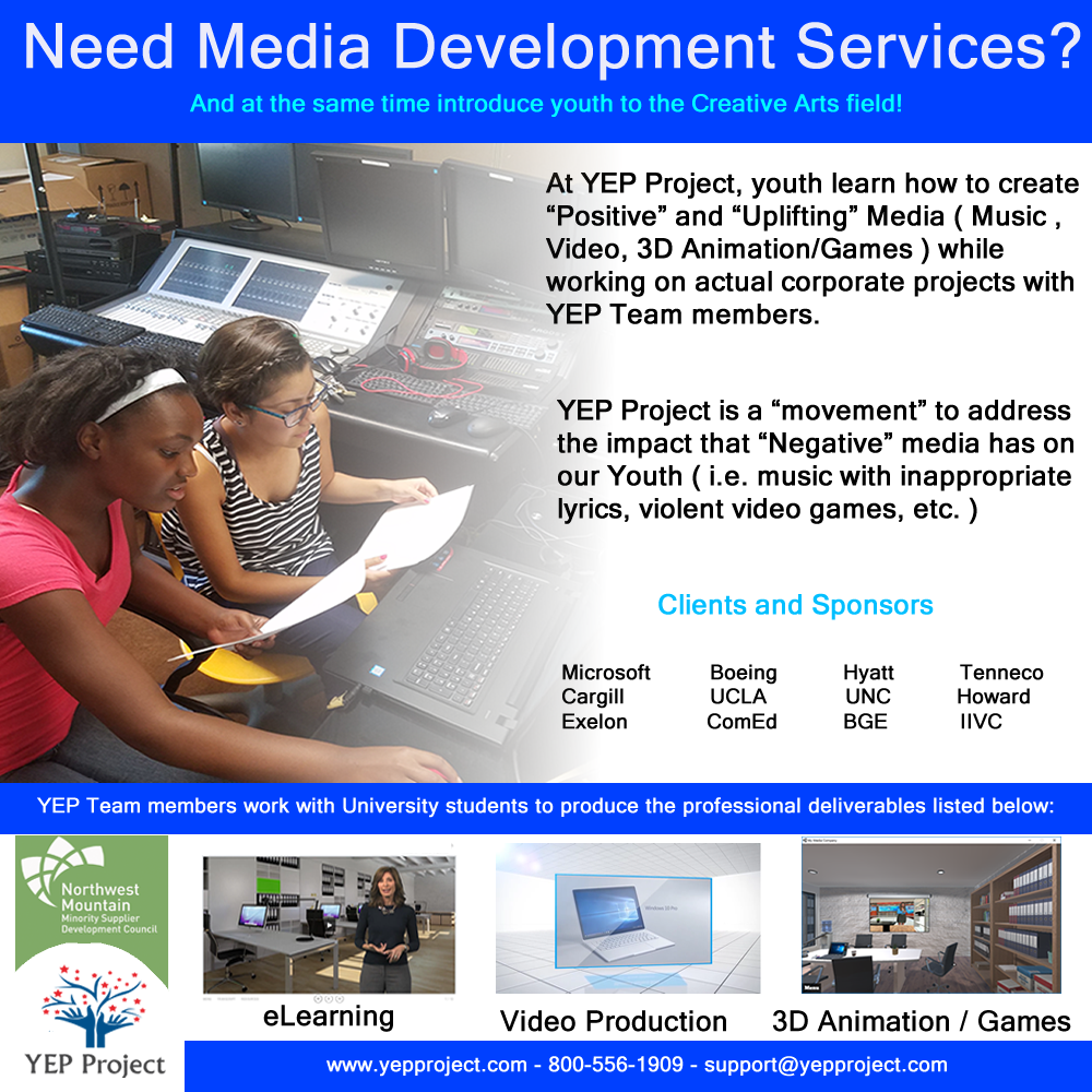 "Order ""Positive Media"" from YEP Project to help provide job skill training to youth and hardware/software for Elementary and High Schools."