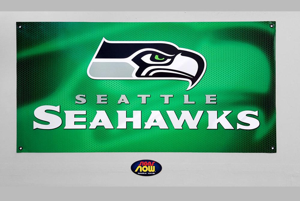 Custom Seahawks Banner from Signs Now Washington
