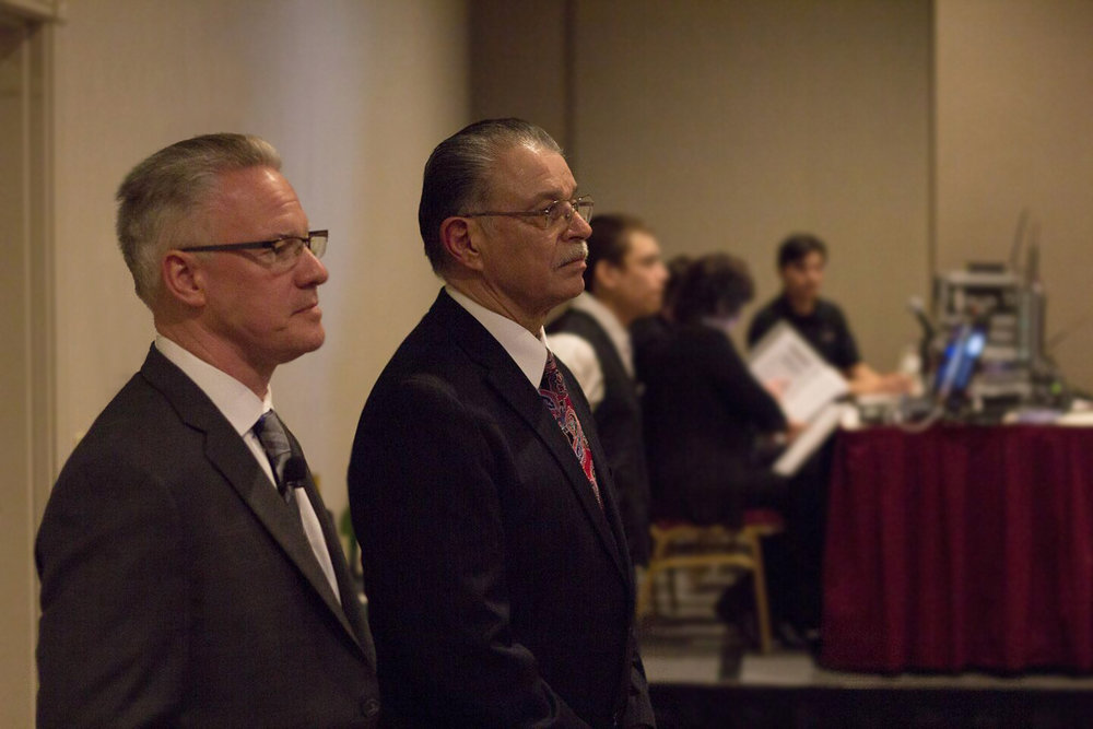 Gary Sheneman (Microsoft Corporation), Board Chairperson and Fernando Martinez, President and CEO of Northwest Mountain MSDC awaiting cue at last year's Annual Awards Dinner and Silent Auction honoring supplier diversity advocates and leaders.