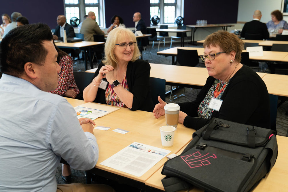 Sue DeFlorio (right) and Cherie Reese (center) during Business Engagement Sessions at 2018 Annual Conference.