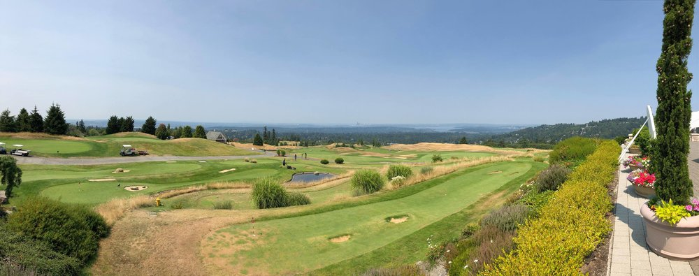 A view from the Club House overlooking Downtown Seattle, Lake Washington and Downtown Bellevue at the Golf Club at New Castle.
