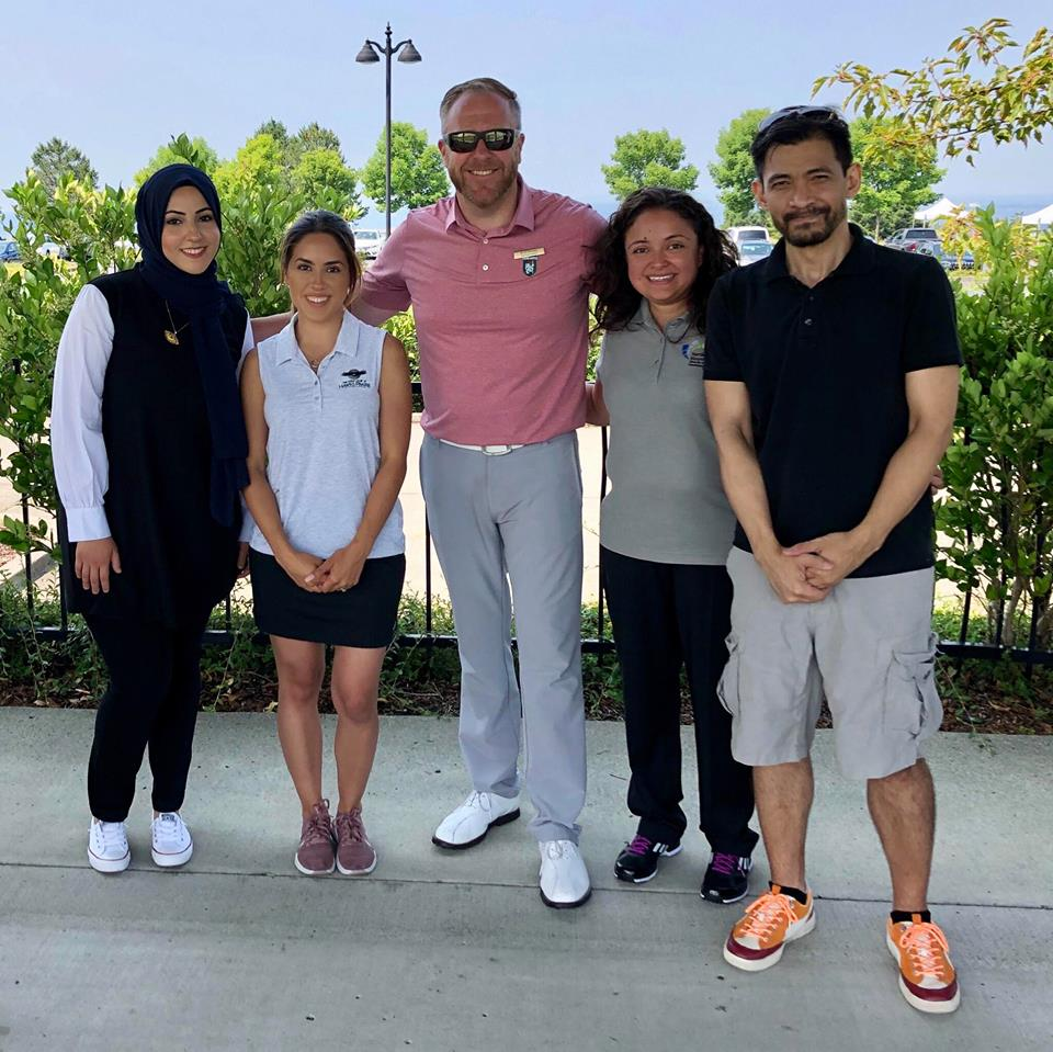 Left to Right: Huda Ai-Musawi, Karla Malacon, Koll Farman, Mayra Rivera and Alex Llorente, July 30, 2018 at the Golf Club at New Castle, Washington.