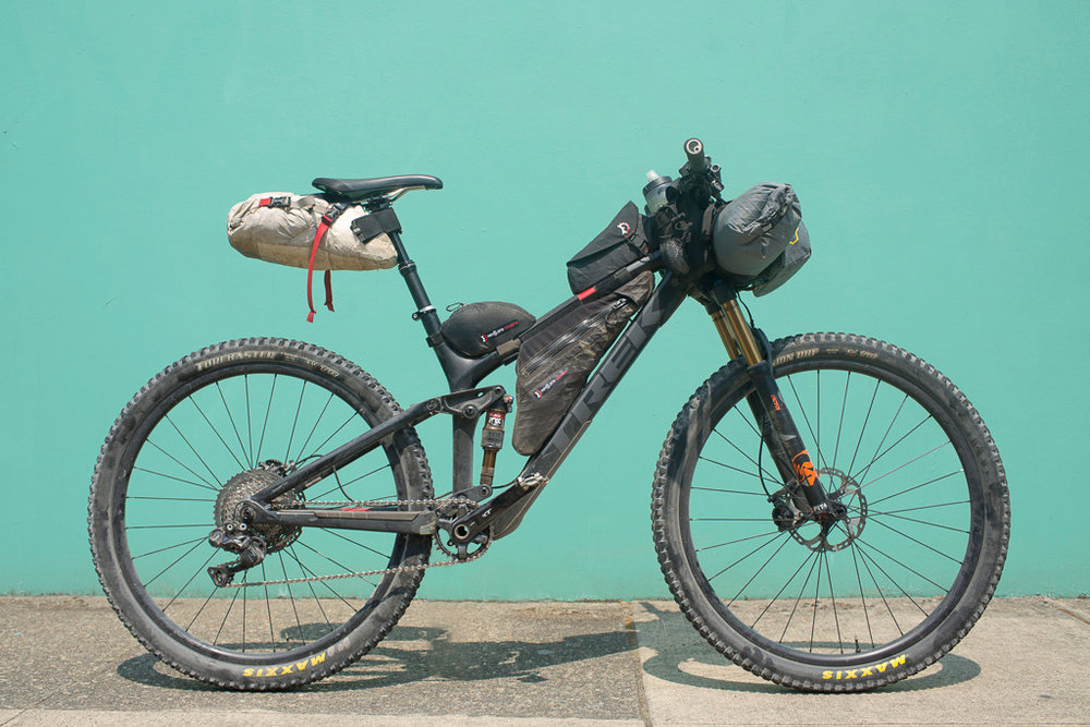 My loaded Timber Trail bike complete with Stages XT power meter. I train because bikepacking can be hard.