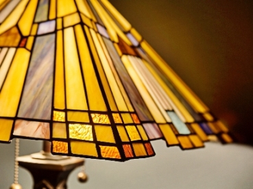 Stained glass arts and crafts-style lamp at The  Buckingham Inn