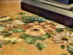 Rosemaling on a Night Table in the Mendota Suite.jpg