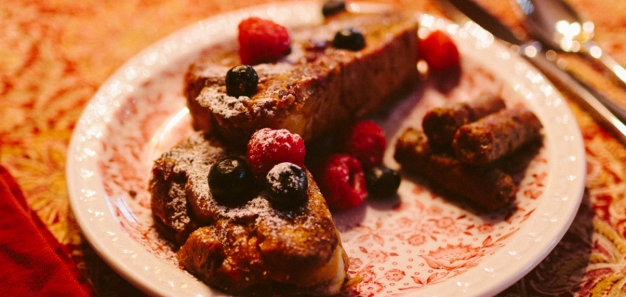 Cranberry-filled French Toast Served with Local Sausage.jpg