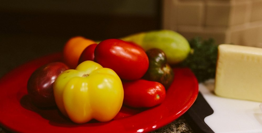Multi-colored Tomatoes and Babcock Hall Cheese for Breakfast Entrees.jpg