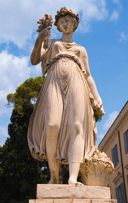 Woman statue in the piazza del popolo inRome