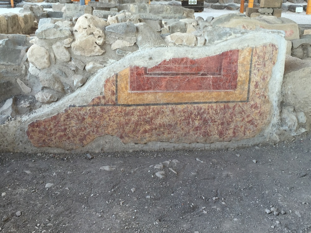 Original paint on a wall of the Magdala synagogue.