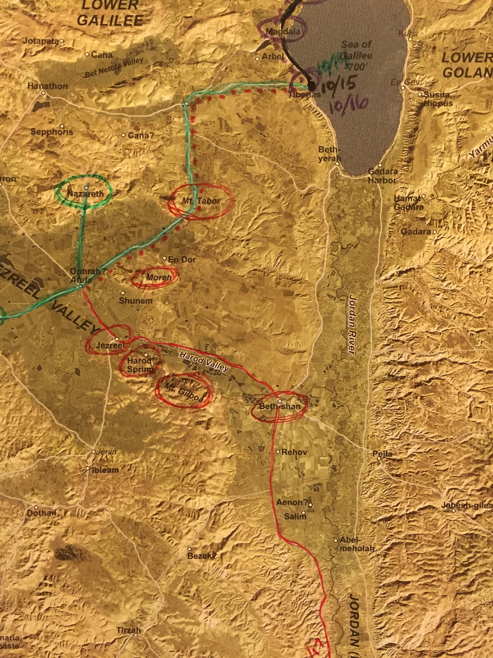The locations we stopped at or saw. From Jezreel we attempted to see Mt. Tabor, the hill or Moreh & Mt. Gilboa.
