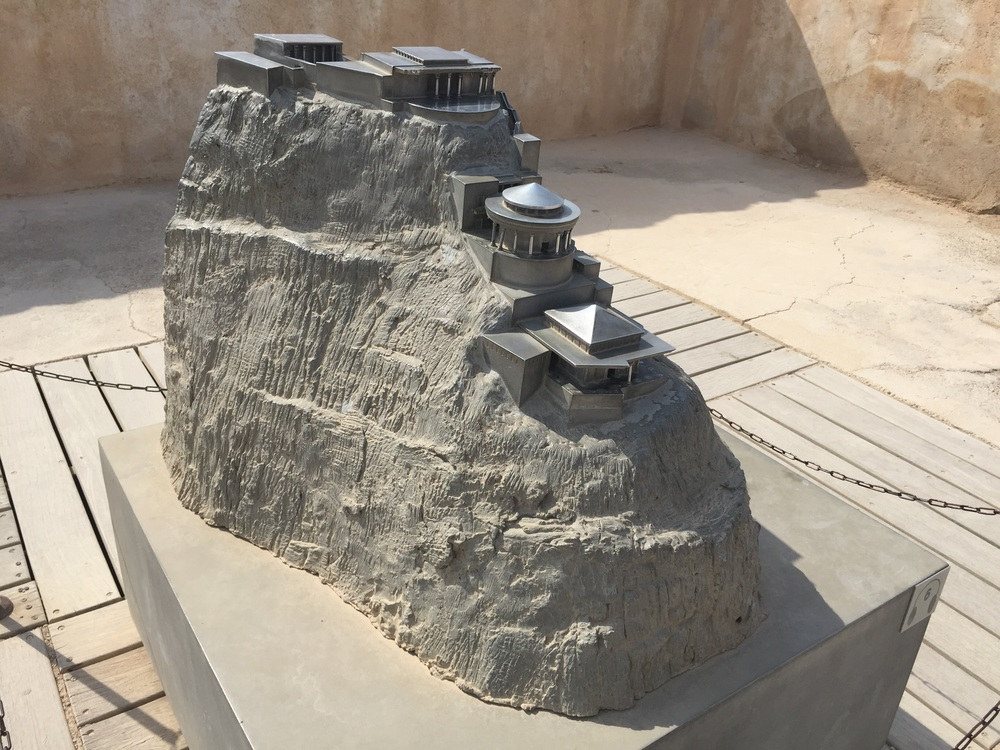 A model of the northern end of Masada, with Herod the Great's tri-level palace.