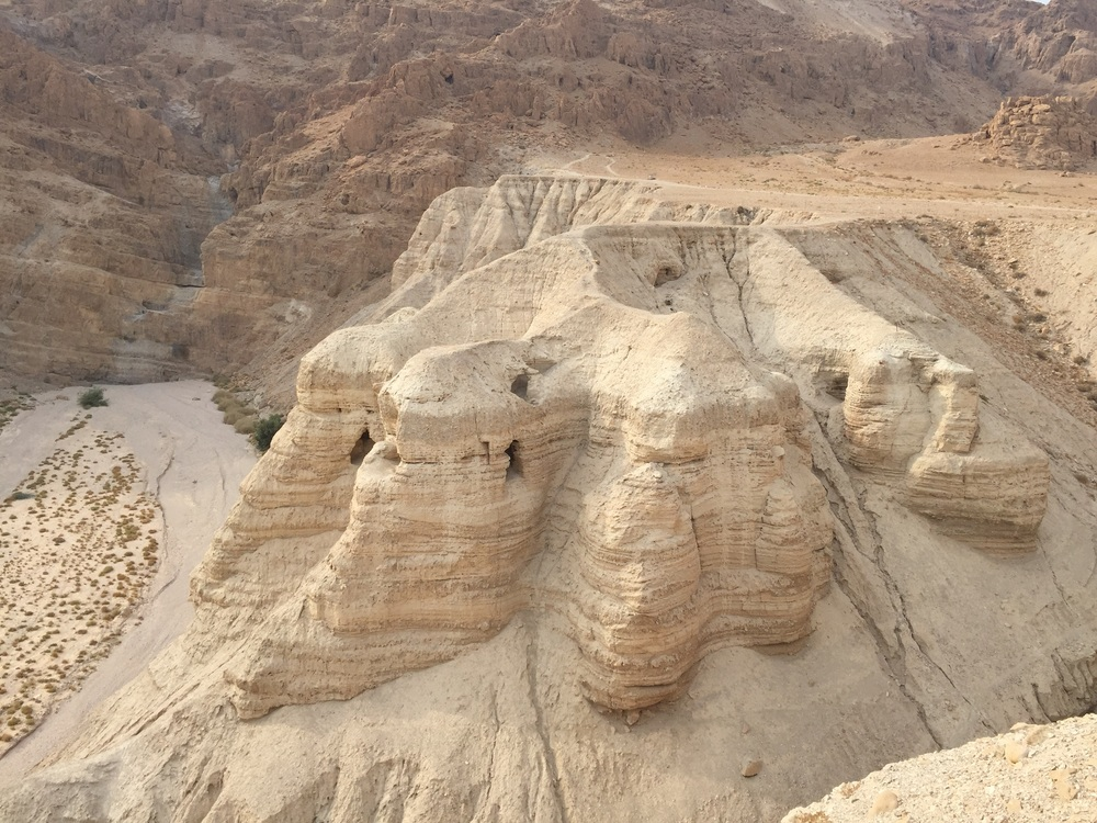 Some of the caves at Qumran where they found the Dead Sea Scrolls.