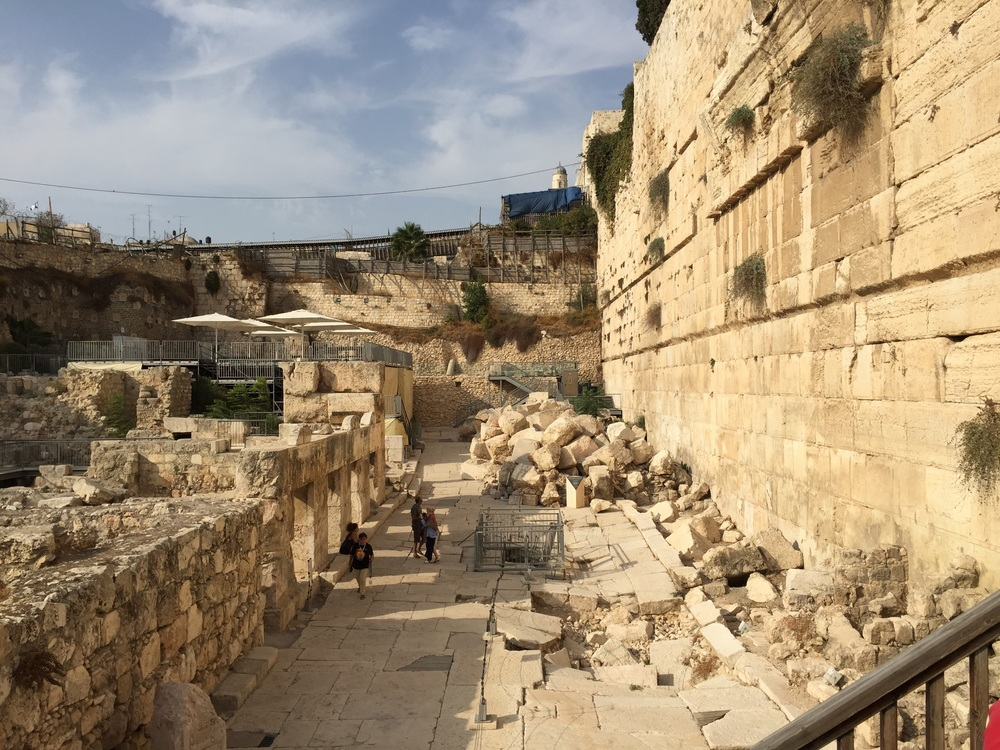 This picture is of the southern end of the western wall (the Wailing Wall is just beyond the blue roof). The street below is Herodian, the street Jesus would have walked on. The metal railing on the street surrounds the steps leading up from the Herodian drainage tunnel that we walked through yesterday.