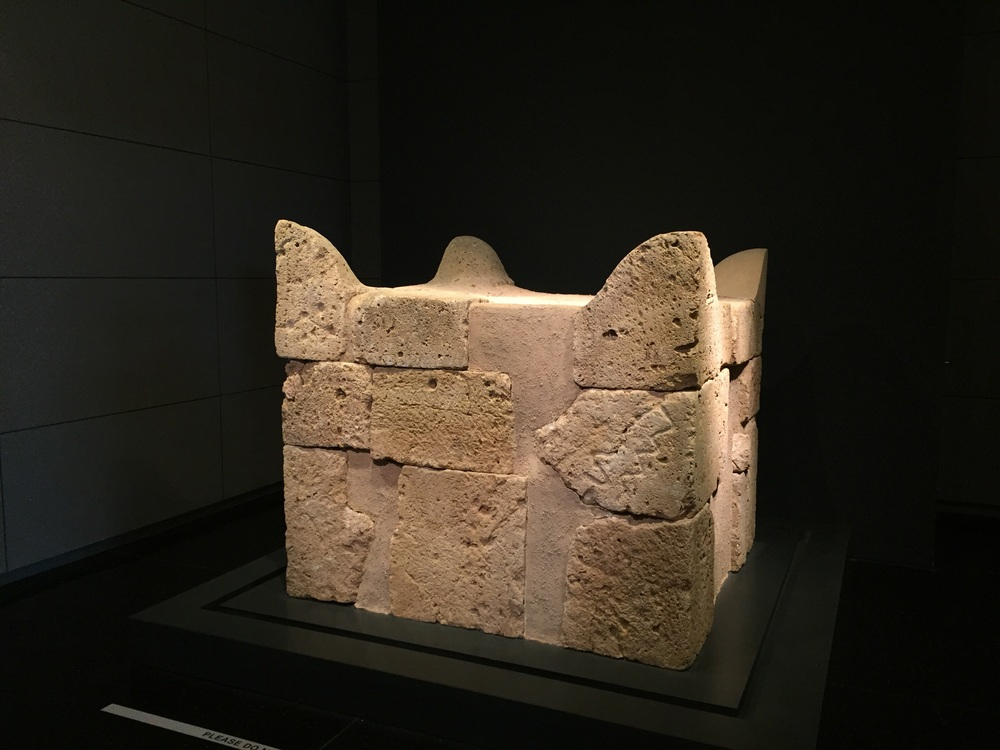 This is the four horned altar found at Tel Be'er Sheva (Beer-sheba), which we visited on  Oct. 21st . A replica of the altar is located at the lower exit of the tunnel we walked through, contructed from stones found at the site.