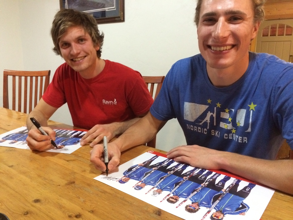 Tyler and I signing posters for Rossignol