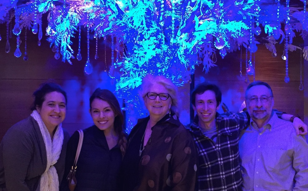 Clare, friend Barbie, Ben and Jacques join me under the glittery tree at the Ritz Carlton @ LALive.