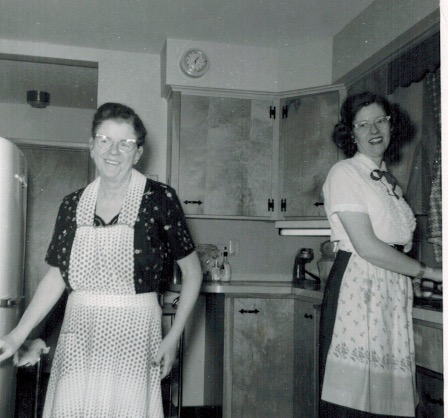 My mom on the right with her sister, Aunt Connie - some time in the early 1960s.