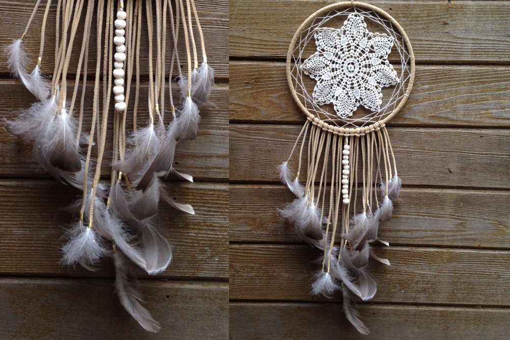 Tan and Grey Doily Dreamcatcher