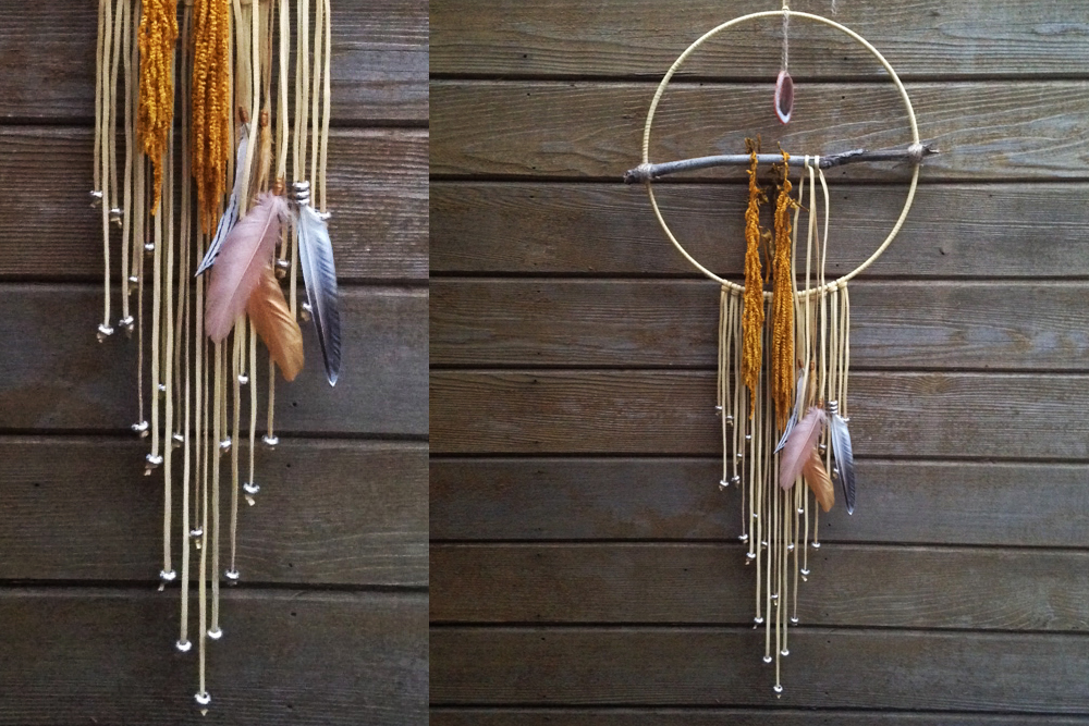 Beaded Amaranth and Agate Dreamcatcher