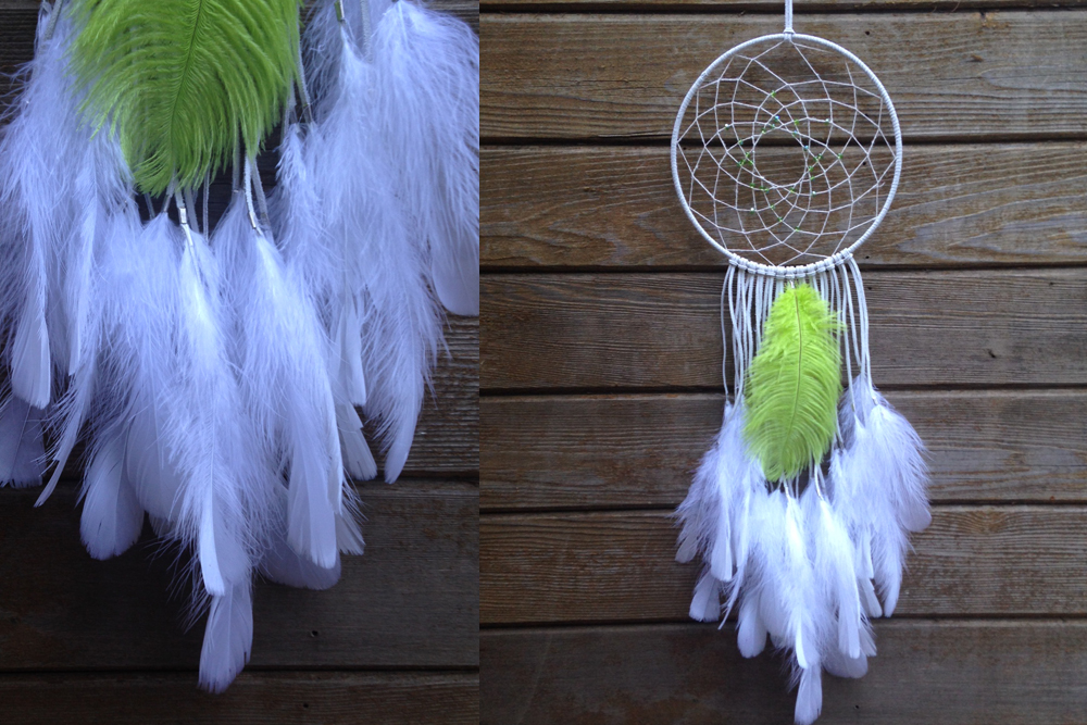 Peridot Ostrich Feather Dreamcatcher