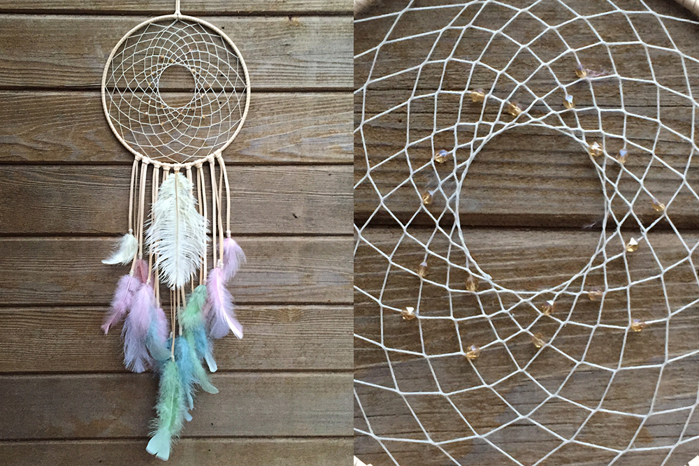 Pastel with Ivory Ostrich Feather Dreamcatcher