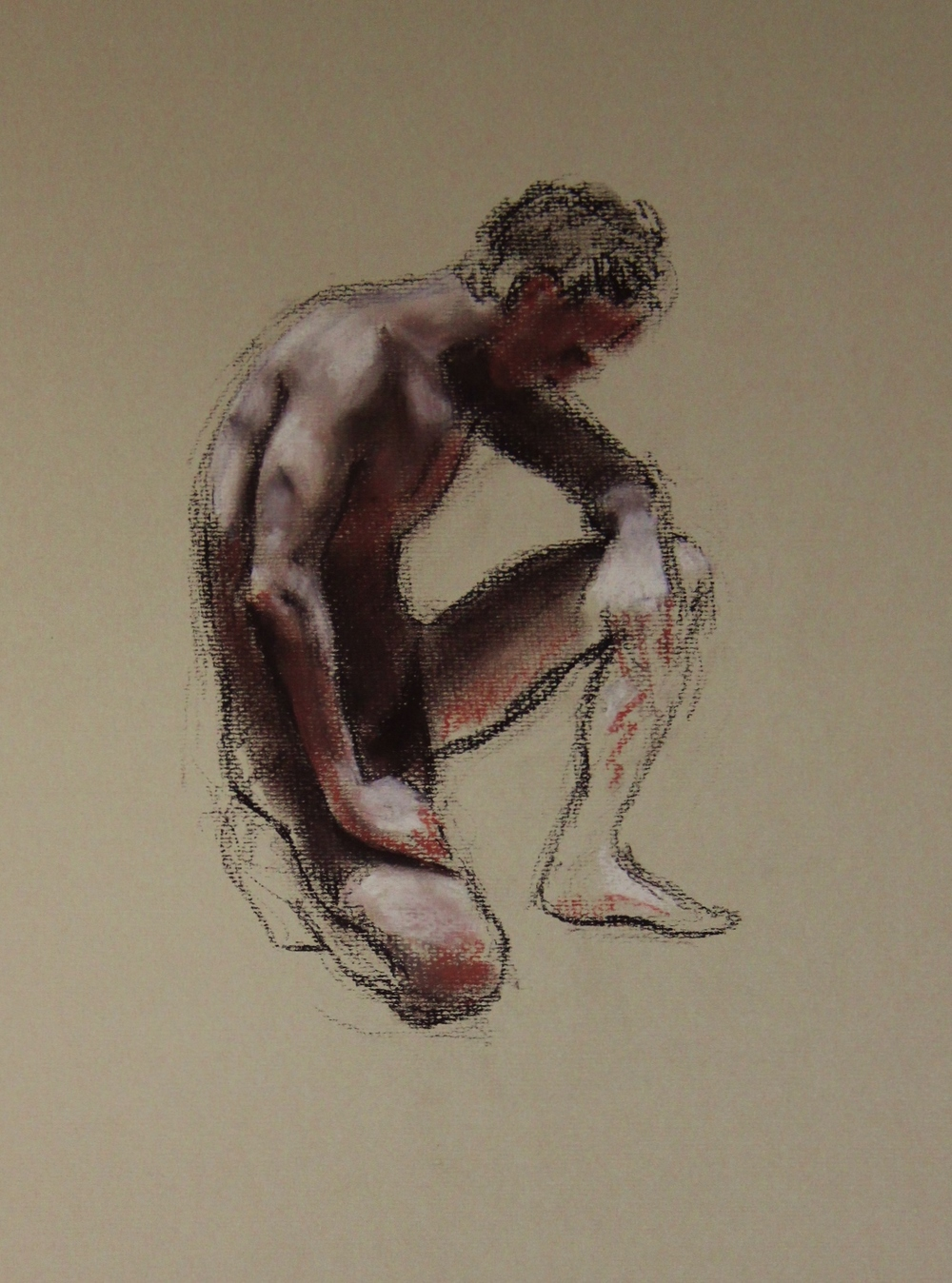 Nude Kneeling - Hard Pastel (30x40cm)