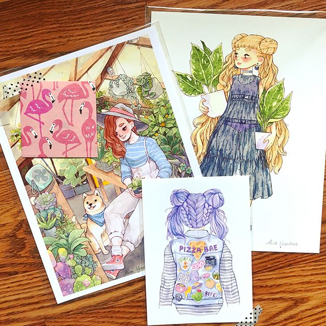 Birthday present to myself arrived today! As soon as @alisavysochina opened up her shop I knew I wanted to buy everything. Her art has probably been the most inspiring to me this year. I chose these prints because I've wanted them for a while and now I can hang them in front of me while I draw at my desk! I was surprised to see one of the prints I wanted to order but decided to save for my next order in my package! Thank you so much for the surprise print and the sweet handwritten note (your handwriting is amazing and so neat?!) I'm so happy the opening of your shop has been so successful and I can't want to see more from you!