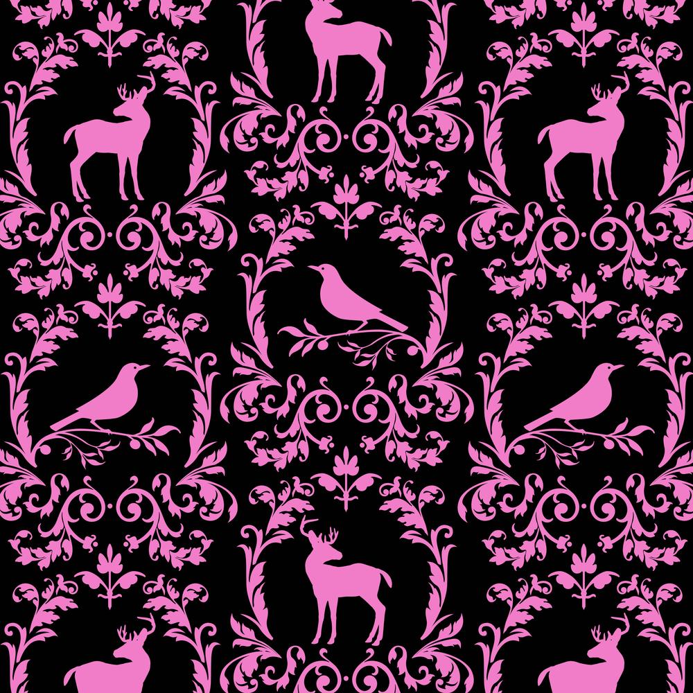 Deer Bird Damask Pattern
