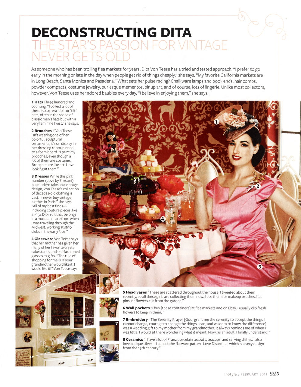 Deer Bird Damask Wallcovering printed by Astek Inc. for Dita Von Teese's home - Featured in InStyle Magazine, February 2011