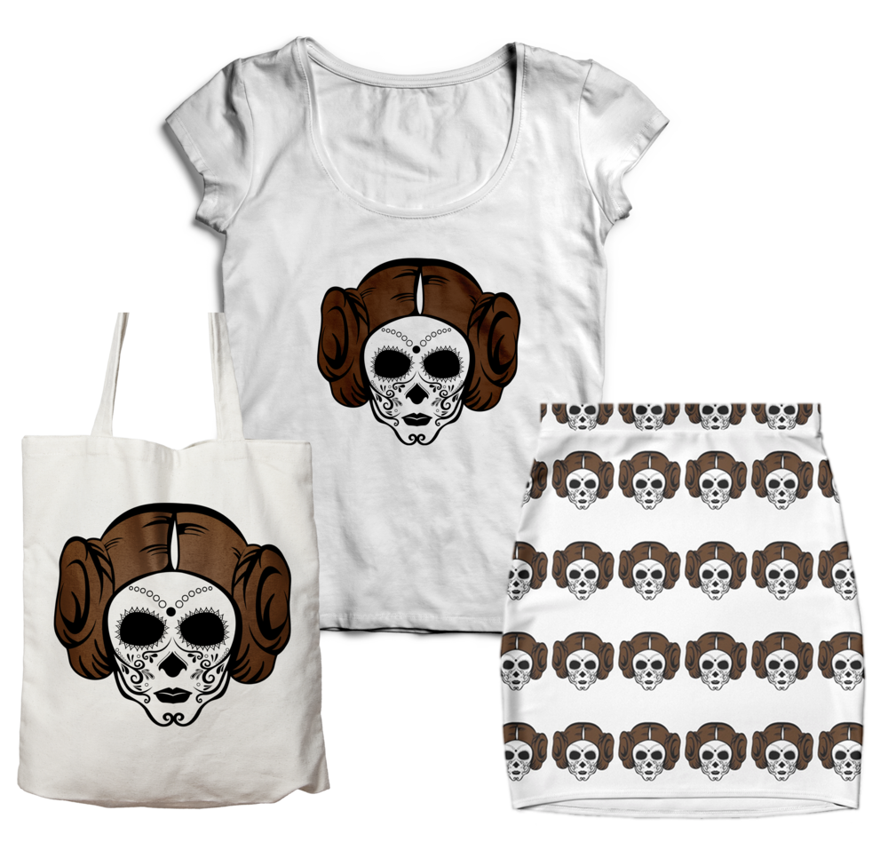 Princess Leia Sugar Skull T-shirt Tote Bag Skirt Design Jlane Design Teepublic Redbubble