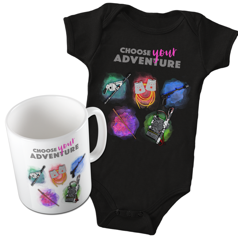 Choose Your Adventure Onesie and Mug on Redbubble